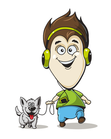 illustration boy in headphones with a dog Illustration