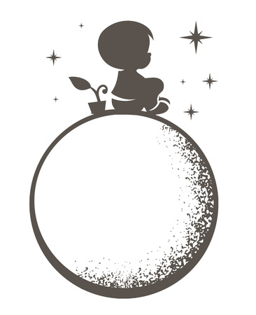 illustration of a boy sitting on the moon on a white background