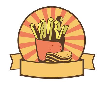 감자 튀김과 칩 배너입니다. 스톡 콘텐츠 - 35864489