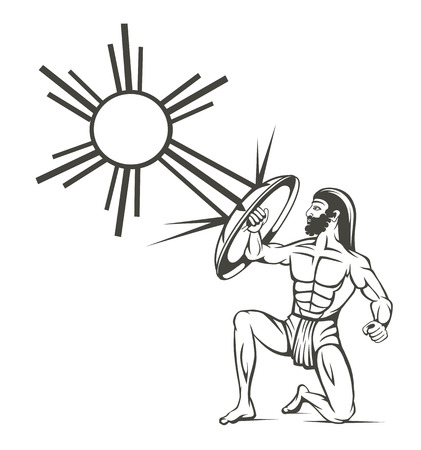 silhouette of gladiators on a white background Ilustrace