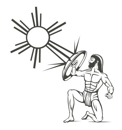 roman empire: silhouette of gladiators on a white background Illustration