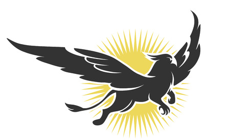 illustration of a griffin on a background of the sun Ilustrace
