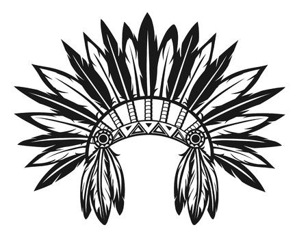 白い背景の上のインド、頭飾りのイラスト