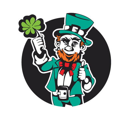 illustration of a leprechaun with clover in his hands