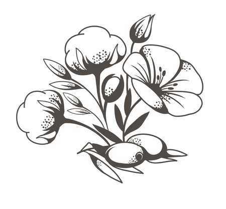 black and white illustration of natural products on a white background