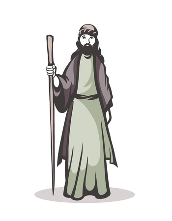 illustration of a pilgrim on a white background
