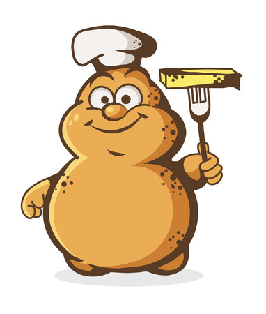 illustration of cheerful potato chef on a white background Illustration