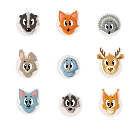 illustration set of snouts of forest animals