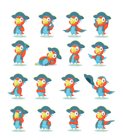 set of pirate parrot Vector
