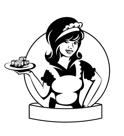 waitress: Waitress with a dish.  Illustration