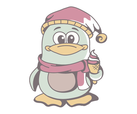 eats: Cute penguin in hat and scarf with ice cream