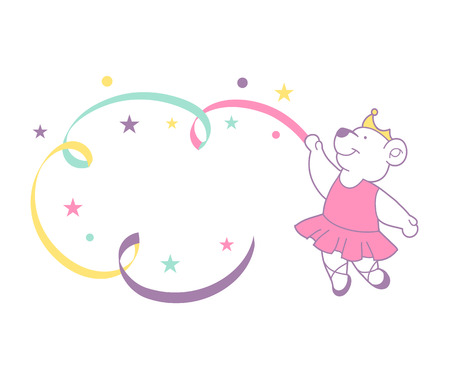 Cute ballerina bear, vector illustration