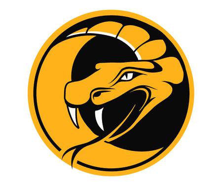 serpiente cobra: Viper emblema redondo, ilustración vectorial