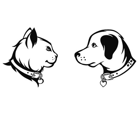 Cat and dog silhouettes, vector illustration