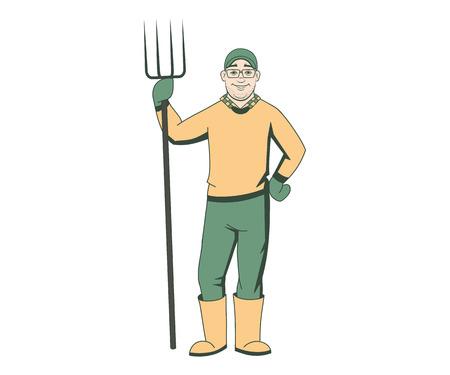villager: Cartoon farmer with pitchfork, vector illustration Illustration