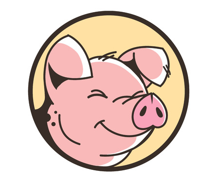 Smiling face of a pig on white background, vector illustration