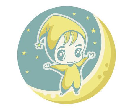 Cute kid on the moon, vector illustration