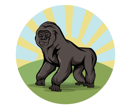 Cartoon gorilla round emblem, vector illustration Illustration