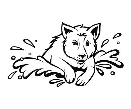 Dog jumping isolated, vector illustration Ilustrace
