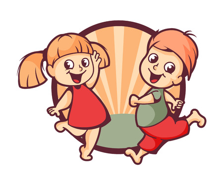 little boy and girl: Happy children logo design, vector illustration Illustration