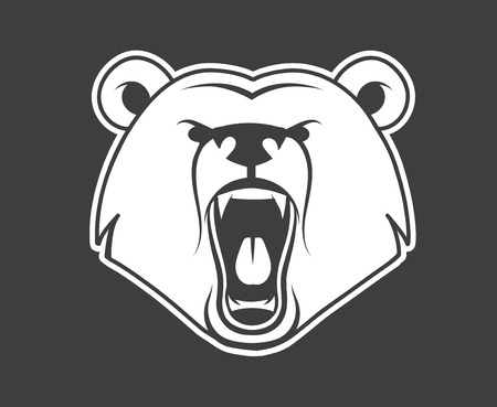 oso: Icono gruñido oso, ilustración vectorial