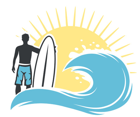 wind surfing: Surfer man on the beach with surfing board, vector Illustration Illustration
