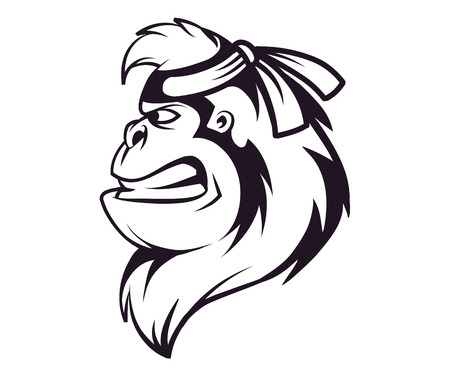 Gorilla ninja head  in black and white, vector illustration