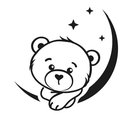 Bear dreamer in black and white, vector illustration Vettoriali