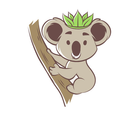 Cute cartoon koala bear on a tree, vector illustration Illustration