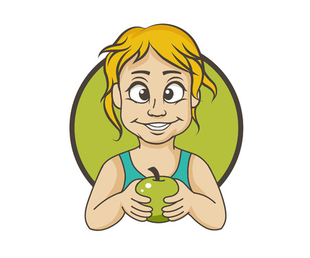 Girl with an apple, vector illustration