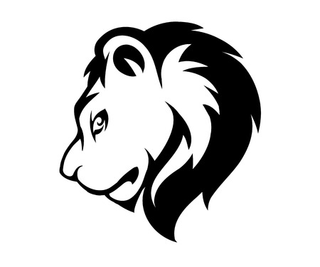 Stylized face of lion isolated on white background, vector illustration