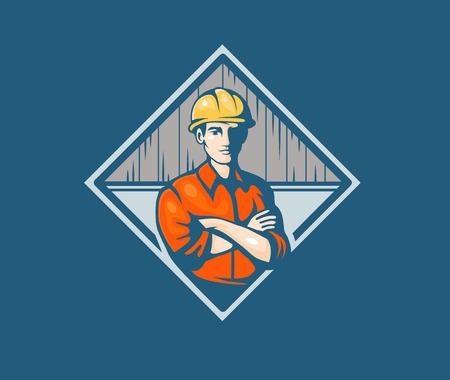 Builder construction worker, vector illustration