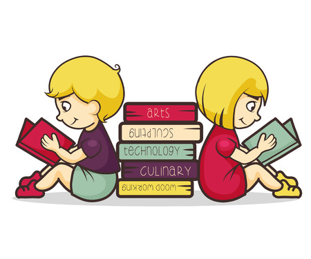 Children reading books, vector illustration