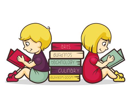 niños estudiando: Los niños la lectura de libros, ilustración vectorial