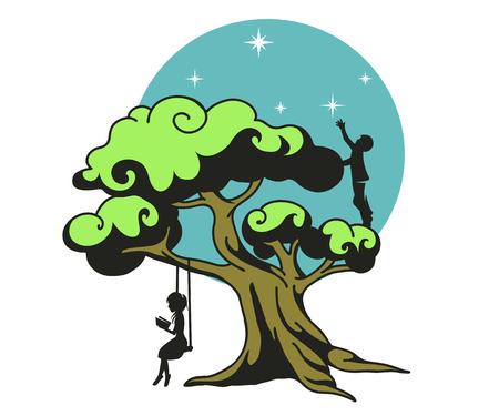Stylized dream tree, vector illustration Ilustrace