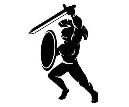 soldat silhouette: Silhouette de soldat romain, illustration vectorielle