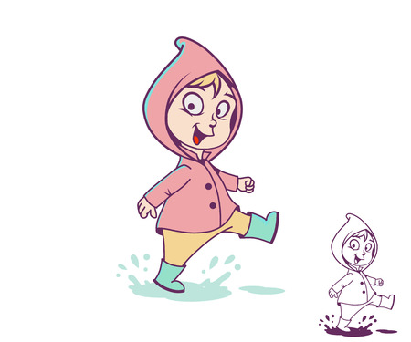Smiling girl in a puddle, vector illustration Ilustrace