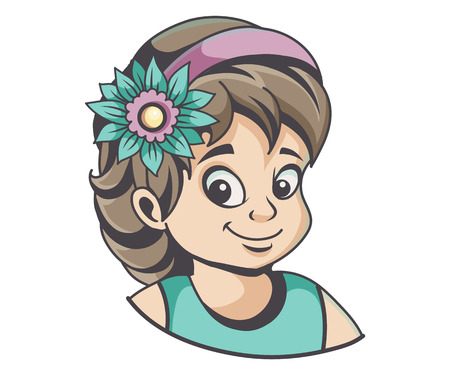 Girl with flower in hair, vector illustration Ilustrace