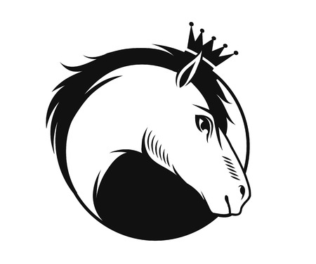 Horse with a crown emblem, vector illustration