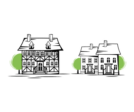 Old houses silhouette, vector illustration