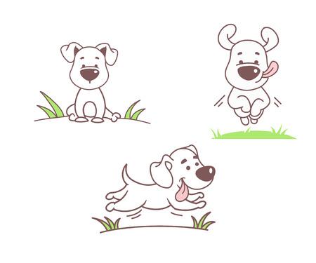 perros graciosos: Conjunto de perros divertidos, ilustración vectorial