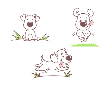 Set of funny dogs, vector illustration