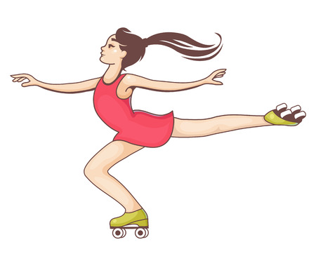 Girl on roller skates. Vector illustration