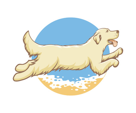 Dog of the sea emblem, vector illustration