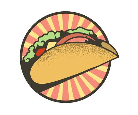 Round emblem of tacos, vector illustration