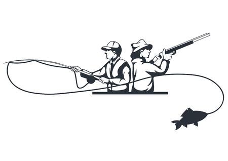 cazador: Cazador y pescador siluetas sobre fondo blanco, ilustración vectorial