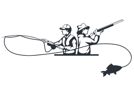 Hunter and fisherman silhouettes on white background, vector illustration