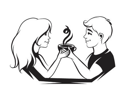 Couple in love with coffee, vector illustration