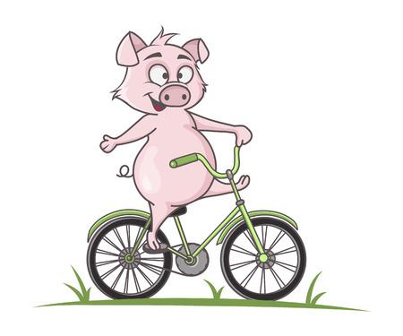 Cute pig cartoon bike ride, vector illustration Illustration