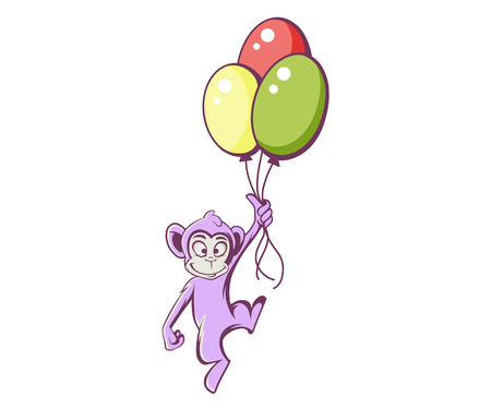 Monkey with colorful balloons, vector illustration Illustration